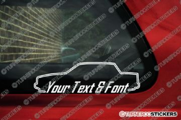 2x Volvo 740 Sedan / saloon 16v Turbo, SE YOUR TEXT custom car surround STICKERS